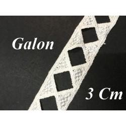 Galon Ruban En 3 Cm  Blanc  Ajouré En forme de Losange Pour Décorations et Customisations.