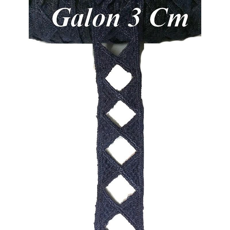 Galon Ruban En 3 Cm Couleur Bleu Marine Ajouré En forme de Losange Pour Décorations et Customisations.