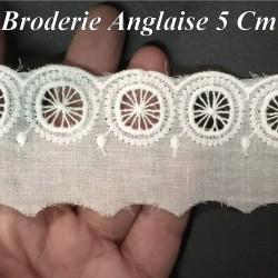 Broderie Anglaise Coton En 5 Cm Blanche Motifs En Cercle A Coudre Pour Loisirs Créatifs.