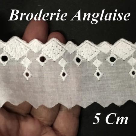 Broderie Anglaise Coton En 5 Cm Blanche Motifs En Carré A Coudre Pour Loisirs Créatifs.