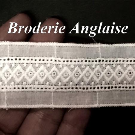 Broderie Anglaise En Tissu Coton Au Mètre en 3,5 Cm cm Blanche, Pour Loisirs Créatifs.