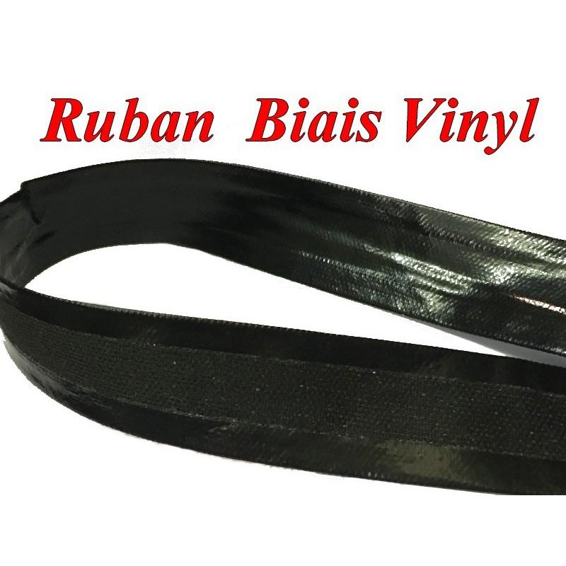Ruban Biais Simili Cuir vinyl Brillant Noir Au Mètre En 20 mm Couture.