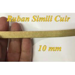 Ruban Biais Simili Cuir Mat Doré Or Au Mètre En 10 mm Couture.