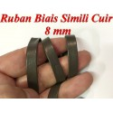 Ruban Biais Simili Cuir Mat Marron Choco Au Mètre En 8 mm Couture.