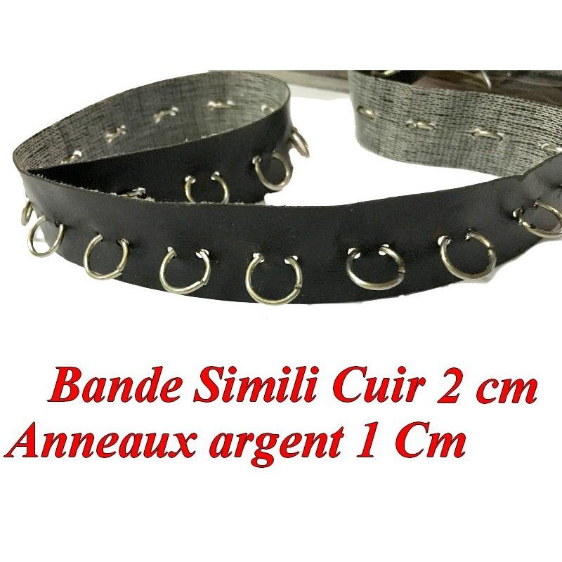 Ruban Simili Cuir Mat Noir Au Mètre Avec Des Anneaux Argent En 2 cm Couture.