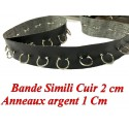Ruban Simili Cuir 2 Cm Mat Noir Au Mètre Avec Des Anneaux Argent Couture.