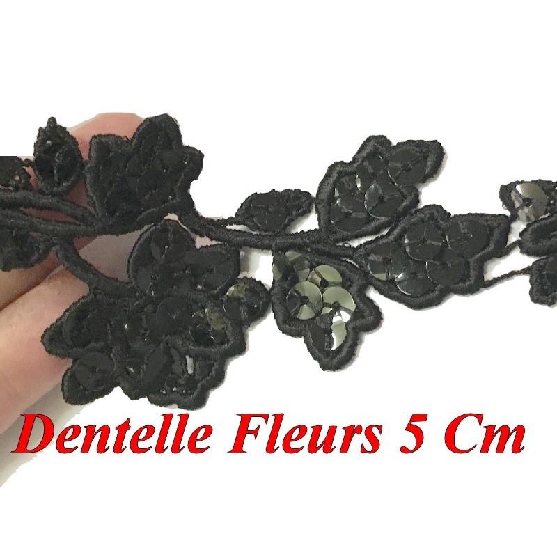 Guipure Dentelle Au Mètre en 5 cm Orné Orné de Sequins Noir pour Customisations.