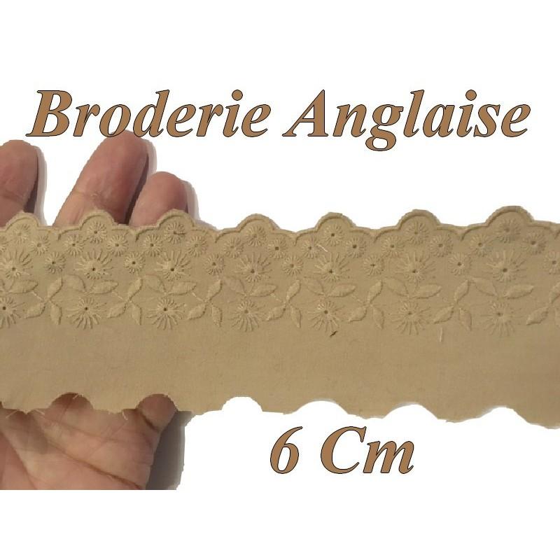 Broderie Anglaise Coton au Mètre en 6 cm Beige A Coudre.