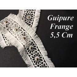 Guipure Dentelle Frange Clous Doré Or En 5.5 Cm Blanche Au Mètre , A Coudre Pour Loisirs Créatifs, Customisations.