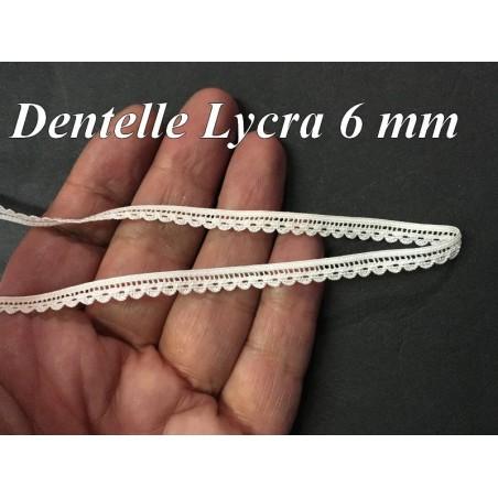 Dentelle Lycra En 6 mm Blanche Pour Lingerie Et Customisations.