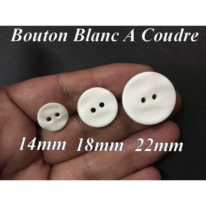 Bouton DE Couture Blanc En Taille 14 mm, 18 mm, 22 mm x Par 6 Piéces Pour Vetements Et Loisirs Créatifs