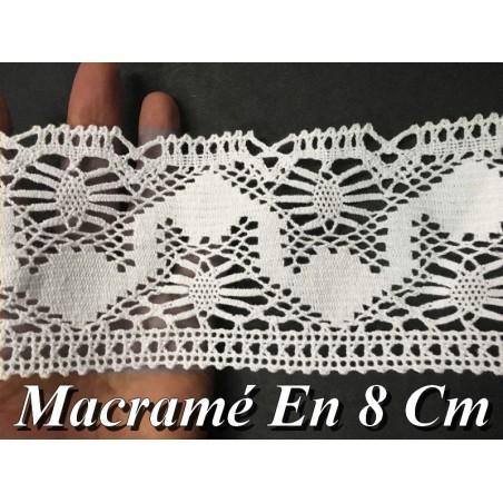 Dentelle Au Crochet Macramé Au Mètre En 8 Cm Blanc.