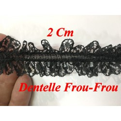 FrouFrou Lycra En Dentelle Noir En 2 Cm A Coudre Pour Lingerie Et Customisations.
