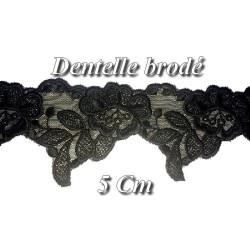 Dentelle Brodé En 5 Cm Noir Sur Tulle Pour Lingerie Et Customisations.