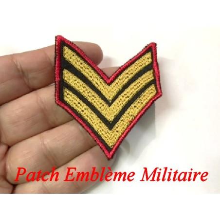 Epaulette Militaire Emblème Ecusson Couture Noir, Doré Et Rouge