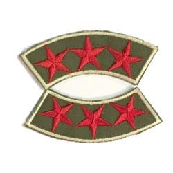 Epaulette Militaire Emblème Ecusson Couture 3 Etoiles Rouge Sur Fond Kaki
