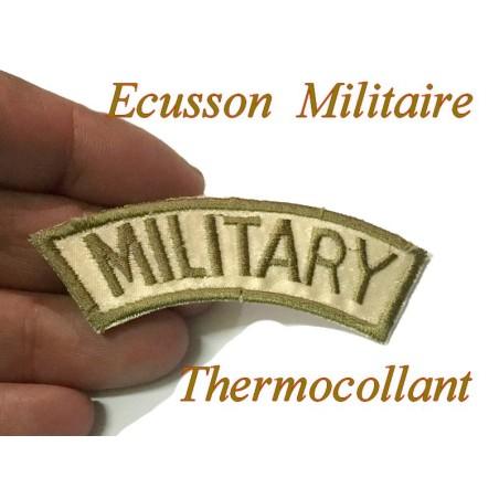 """Epaulette Militaire Emblème Ecusson Couture """" MILITARY """"Brodé En Couleur Kaki"""