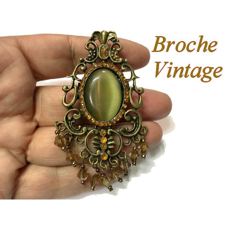 Broche En Kaki Vintage Avec Strass Sur Un Support Métal Bronze Pour Customisations.