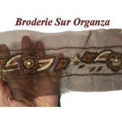 Galon Ruban En Broderie Perles Sur Oranza En 12 Cm Choco Pour Décorations Caftans Et Customisations.