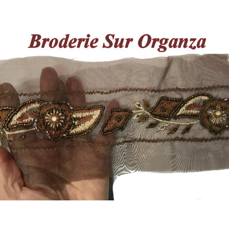 Galon Ruban En broderie perles Sur Tulle En 12 Cm Choco Pour Décorations Caftans Et Customisations.