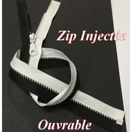 Zip Fermeture Eclair A Glissière 55 Cm Noir Et Blanc Ouvrable En Maille Plastique Injecté A Coudre.