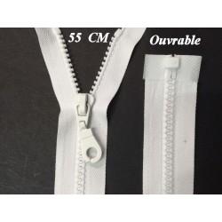 Zip Fermeture Eclair A Glissière 55 Cm Blanche Ouvrable En Maille Plastique Injecté A Coudre.