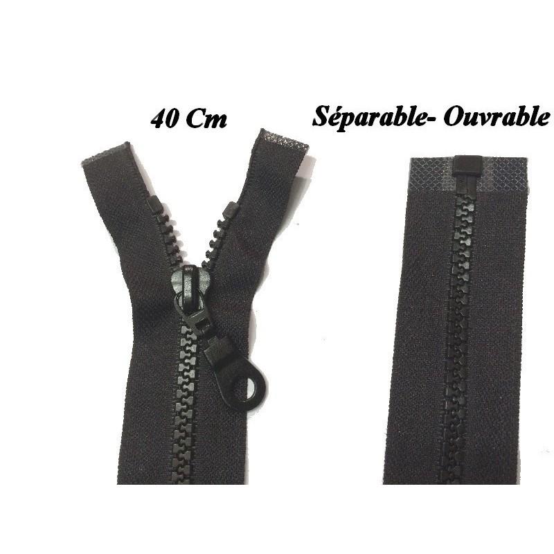 Zip Fermeture Eclair A Glissière 40 Cm Noir Ouvrable En Maille Plastique Injecté A Coudre.