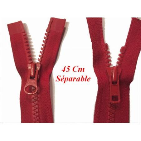Zip Fermeture Eclair A Glissière 45 Cm Rouge Ouvrable Double Curseur En Maille Plastique Injecté A Coudre.