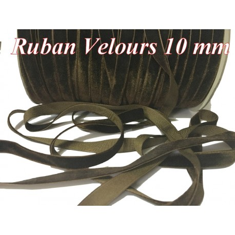 Ruban Velours en 10 mm Couleur Marron Chocolat Pour vetements et Loisirs Créatifs