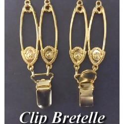 """Pince A Bretelle Fantaise Doré Or Avec 2 Epingles En motifs Style """" Versace """""""