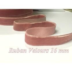 Ruban De Velours en 16 mm Couleur Vieux Rose Pour vetements et Loisirs Créatifs