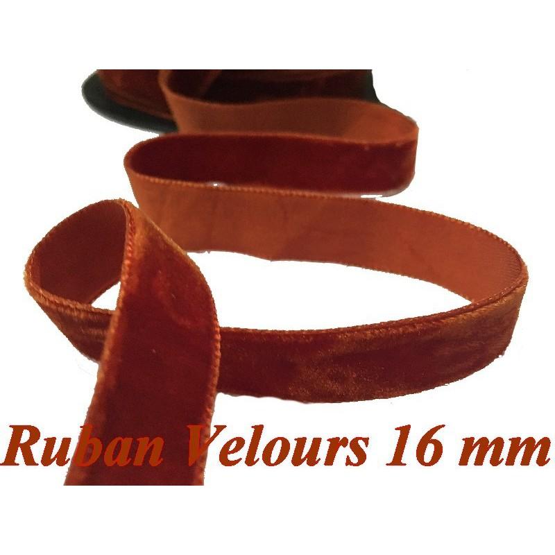 Ruban De Velours en 16 mm Couleur Brique Pour vetements et Loisirs Créatifs
