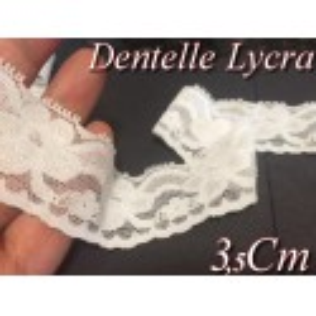Dentelle Lycra En 3.5 Cm Blanche Pour Lingerie Et Customisations.