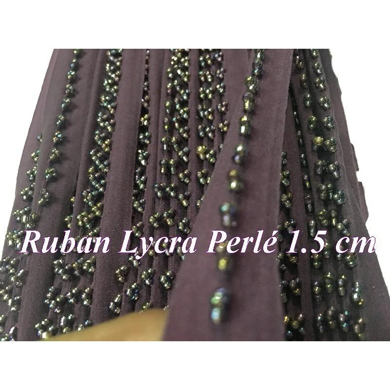 Ruban Biais Lycra perlé en Couleur Violet pour Lingerie Et Customisations de vetements Elasthanne