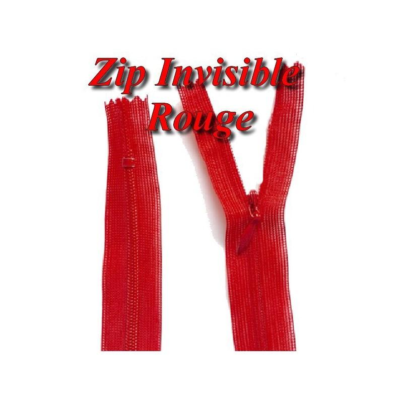 Zip invisible En 22 Cm, Coloris Rouge Couture, Non-Séparable, Pour Jupes, Pantalons, Robes