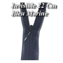 Zip invisible En 22 Cm, Coloris Bleu Marine , Non-Séparable, Pour Jupes, Pantalons, Robes