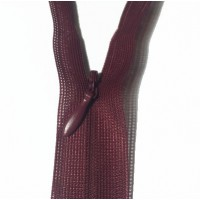 Zip invisible En 22 Cm, Coloris Rouge Lie De Vin , Non-Séparable, Pour Jupes, Pantalons, Robes