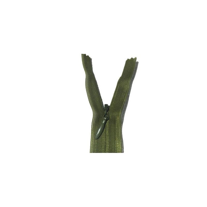 Zip invisible En 22 Cm, Coloris Vert kaki , Non-Séparable, Pour Jupes, Pantalons, Robes