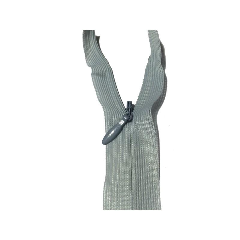 Zip invisible En 22 Cm, Coloris Gris , Non-Séparable, Pour Jupes, Pantalons, Robes