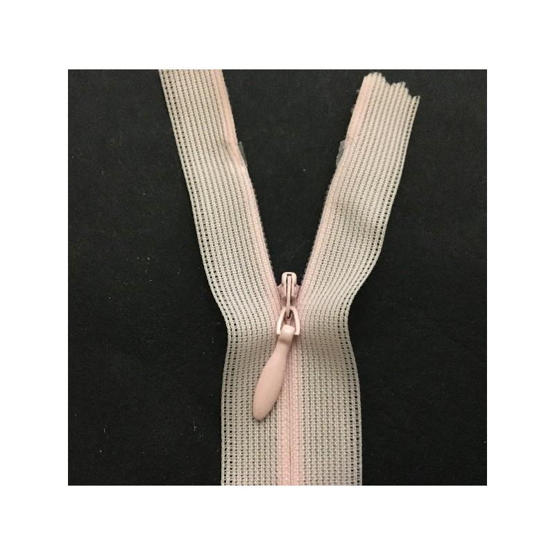 Zip invisible En 22 Cm, Coloris Rose , Non-Séparable, Pour Jupes, Pantalons, Robes