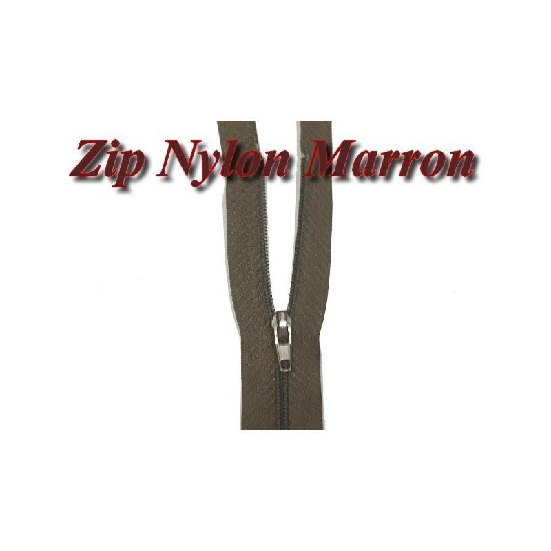 Fermeture Eclair Marron A Glissière Nylon 20 Cm A Coudre.