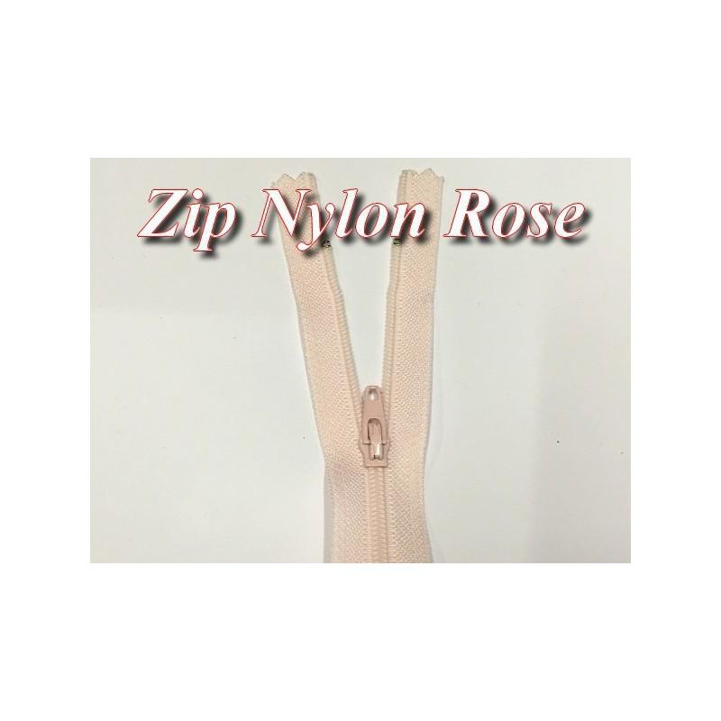Fermeture Eclair Rose A Glissière Nylon 20 Cm A Coudre.