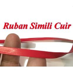 Ruban Biais Simili Cuir Mat Rouge Au Mètre En 5 mm Couture.