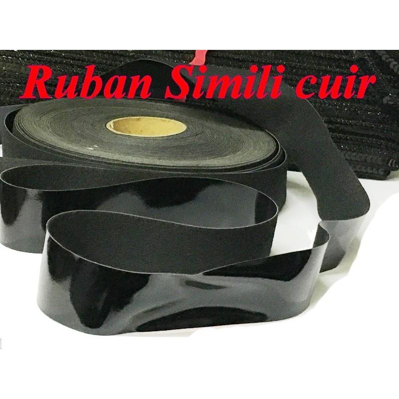 Ruban Sky Simili Cuir En 3 Cm Noir Au Mètre