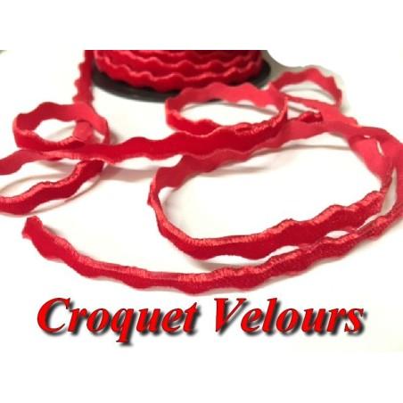 Ruban Croquet Velours Sepentine en 6 mm pour Loisirs Créatifs Et Customisations Rouge