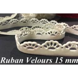 Ruban De Velours Fantaisie en 15 mm Couleur Ecru Pour vetements et Loisirs Créatifs