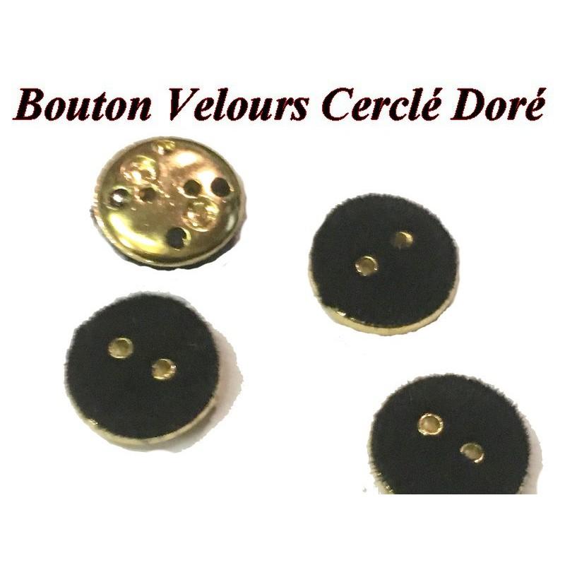 Bouton DE Couture En Velours Noir En Taille 14 mm, Cerclé Doré Pour Vetements Et Loisirs Créatifs