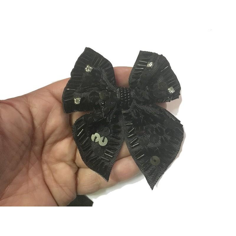 Broche En Forme De noeud Papillons perlée Noir