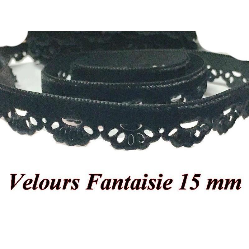 Ruban De Velours Fantaisie en 15 mm Couleur Noir Pour vetements et Loisirs Créatifs