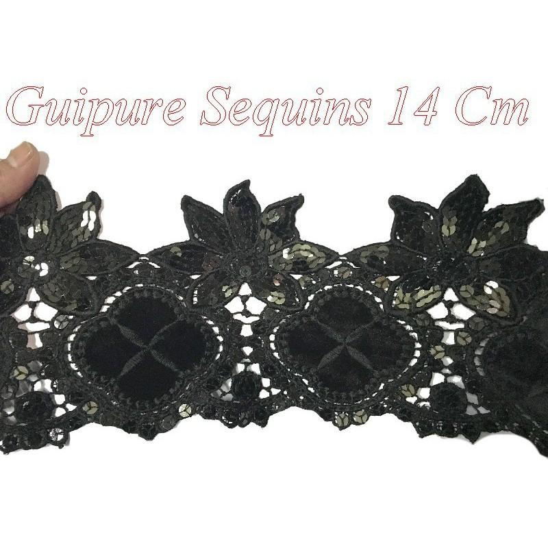 Galon Dentelle Guipure Au Mètre En 14 Cm Noir Avec Paillettes Et Sequins .